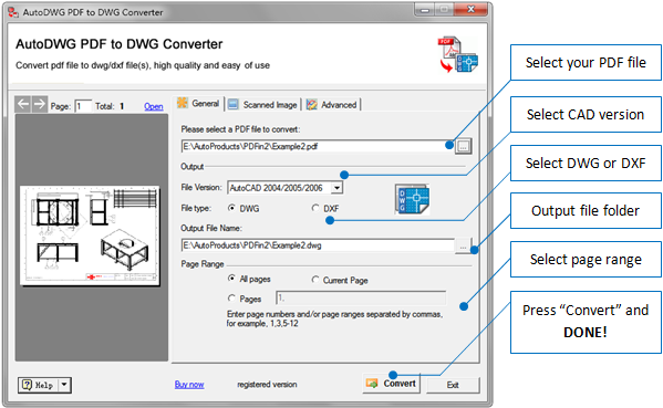 How to convert pdf to dwg dxf